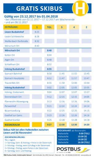 Ski Riesneralm - Busplan 2017-18
